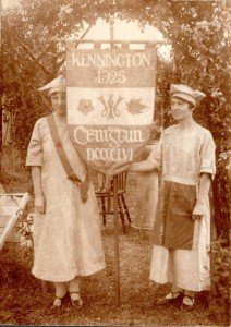 The Kennington WI banner being held in 1925.